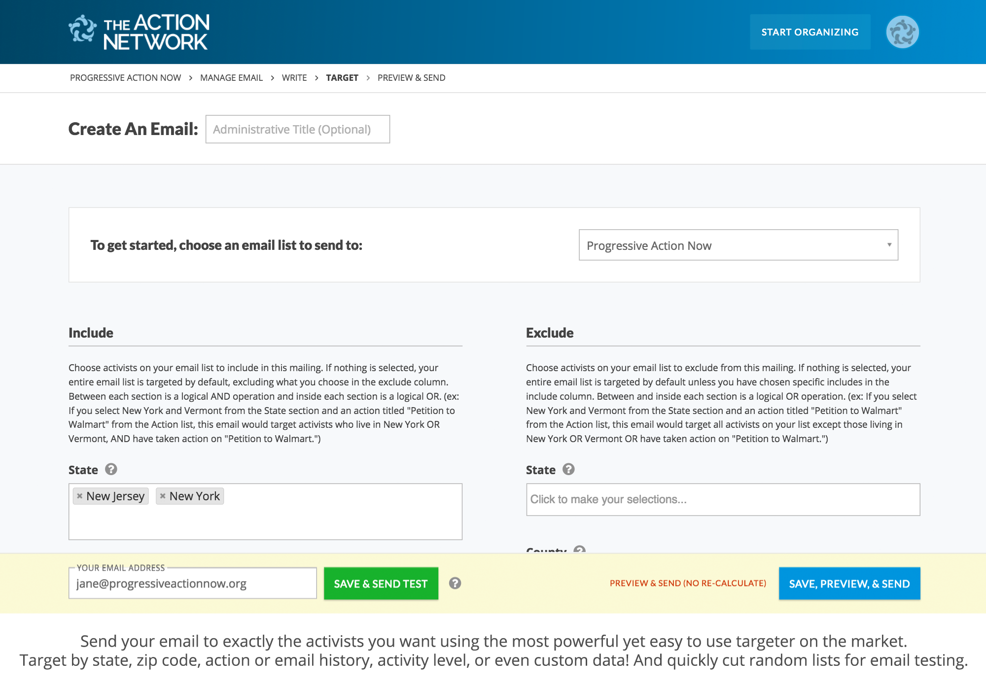 toolset action network email features