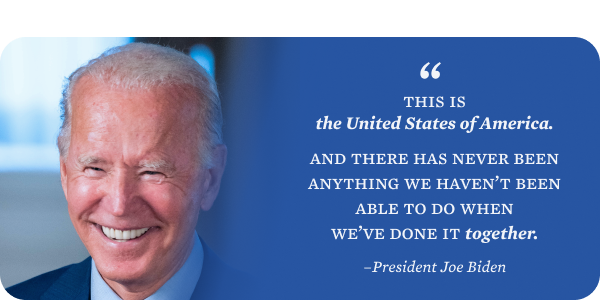 This is the United States of America. And there has never been anything we haven't been able to do when we've done it together. - Joe Biden